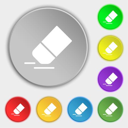 Eraser, signe d'icône en caoutchouc. Symbole sur huit boutons plats. Illustration vectorielle