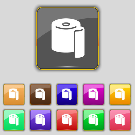 watercloset: toilet paper icon sign. Set with eleven colored buttons for your site. Vector illustration Illustration