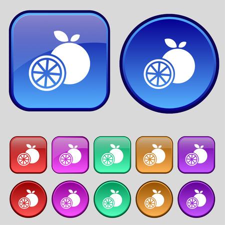 fruit stalk: orange icon sign. A set of twelve vintage buttons for your design. Vector illustration