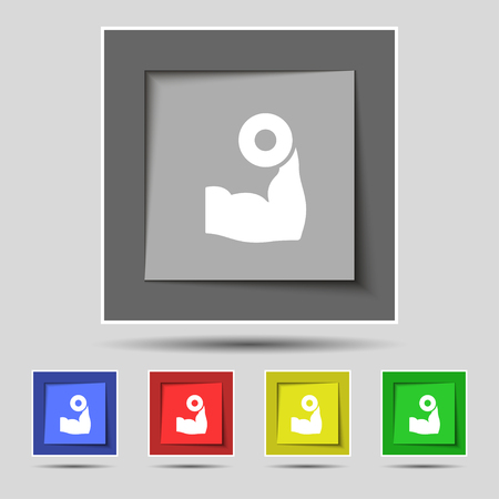 hand with dumbbell: Arm muscle with dumbbell in hand icon sign on original five colored buttons. Vector illustration