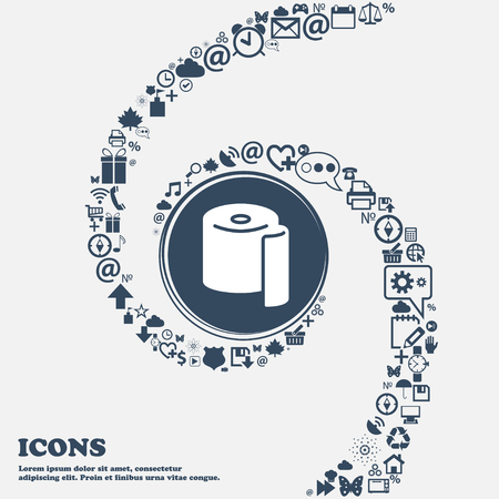 defecation: toilet paper icon in the center. Around the many beautiful symbols twisted in a spiral. You can use each separately for your design. Vector illustration