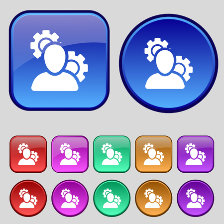 parameters: Profile Setting Icon sign. A set of twelve vintage buttons for your design. Vector illustration Illustration