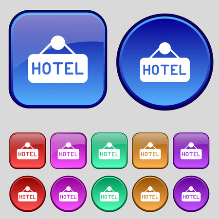 apartment bell: hotel icon sign. A set of twelve vintage buttons for your design. Vector illustration