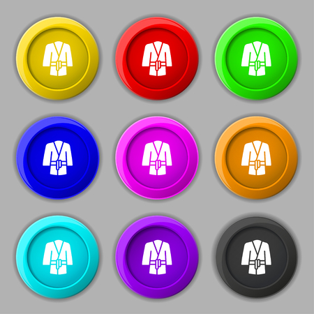 housecoat: Bathrobe icon sign. symbol on nine round colourful buttons. Vector illustration