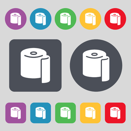 toilet paper icon sign. A set of 12 colored buttons. Flat design. Vector illustration