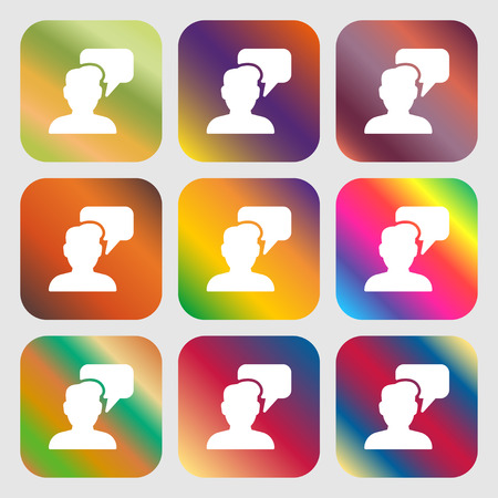 speech buble: People talking icon sign. Nine buttons with bright gradients for beautiful design. Vector illustration