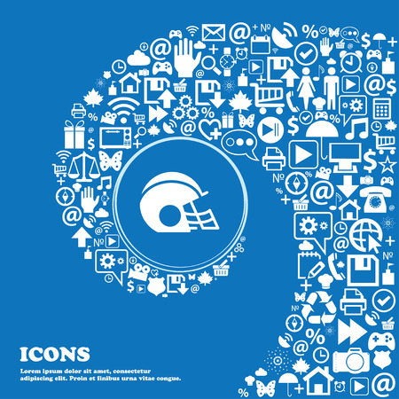 facemask: football helmet icon sign. Nice set of beautiful icons twisted spiral into the center of one large icon. Vector illustration
