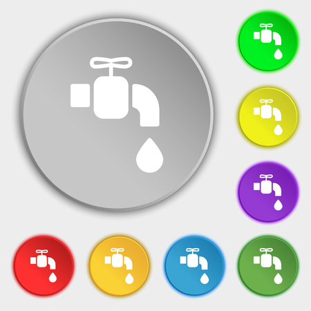 faucet icon sign. Symbol on eight flat buttons. Vector illustration Illustration