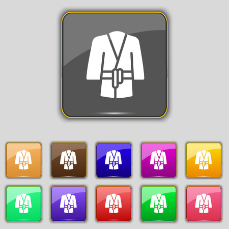housecoat: Bathrobe icon sign. Set with eleven colored buttons for your site. Vector illustration Illustration
