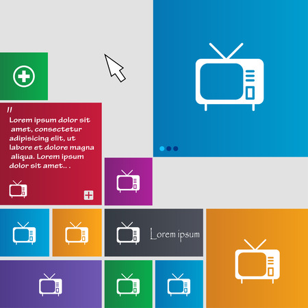 tv icon sign. buttons. Modern interface website buttons with cursor pointer. Vector illustration