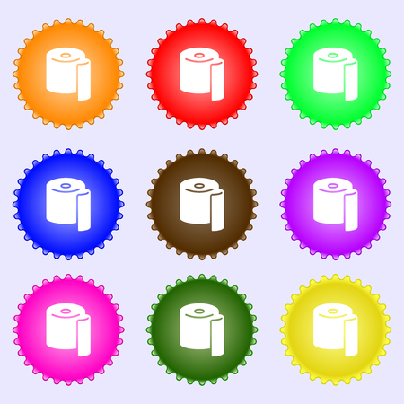 watercloset: toilet paper icon sign. Big set of colorful, diverse, high-quality buttons. Vector illustration Illustration