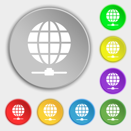webhost: Website Icon sign. Symbol on eight flat buttons. Vector illustration