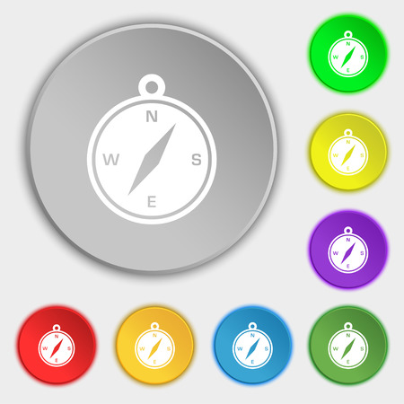 compass icon sign. Symbol on eight flat buttons. Vector illustration Illustration