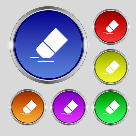Eraser, rubber icon sign. Round symbol on bright colourful buttons. Vector illustration
