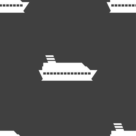 to pierce: Cruise sea ship icon sign. Seamless pattern on a gray background. Vector illustration