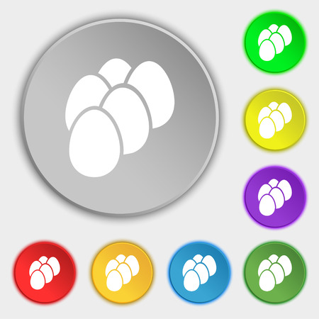 eggs icon sign. Symbol on eight flat buttons. Vector illustration