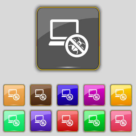 cyber defence: bug find icon sign. Set with eleven colored buttons for your site. Vector illustration