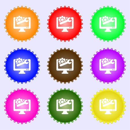 technologically: repair computer icon sign. Big set of colorful, diverse, high-quality buttons. Vector illustration Illustration
