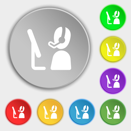 telemarketing: Telemarketing icon sign. Symbol on eight flat buttons. Vector illustration