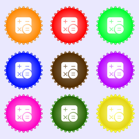 Calculator icon sign. Big set of colorful, diverse, high-quality buttons. Vector illustration Illustration