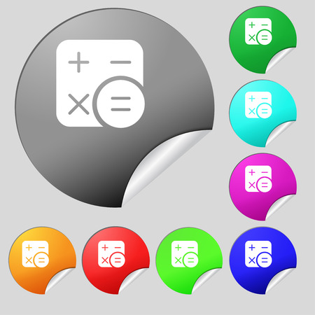 Calculator icon sign. Set of eight multi colored round buttons, stickers. Vector illustration