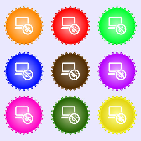 bug find icon sign. Big set of colorful, diverse, high-quality buttons. Vector illustration