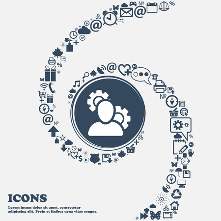 set up: Profile Setting Icon in the center. Around the many beautiful symbols twisted in a spiral. You can use each separately for your design. Vector illustration