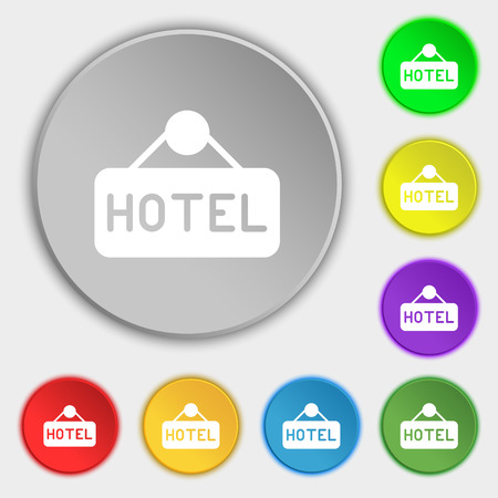 apartment bell: hotel icon sign. Symbol on eight flat buttons. Vector illustration