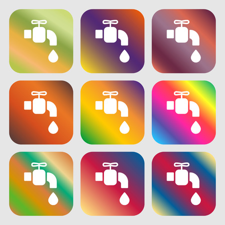 ooze: faucet icon sign. Nine buttons with bright gradients for beautiful design. Vector illustration