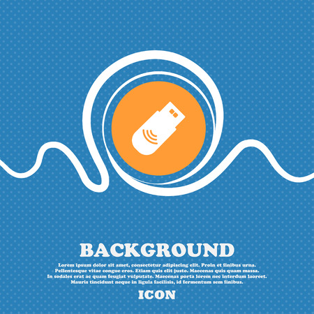 usb Icon sign. Blue and white abstract background flecked with space for text and your design. Vector illustration Illustration