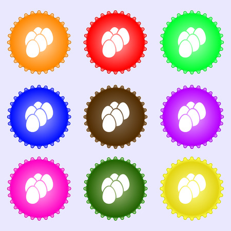 eggs icon sign. Big set of colorful, diverse, high-quality buttons. Vector illustration Illustration
