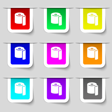 toilet paper icon sign. Set of multicolored modern labels for your design. Vector illustration