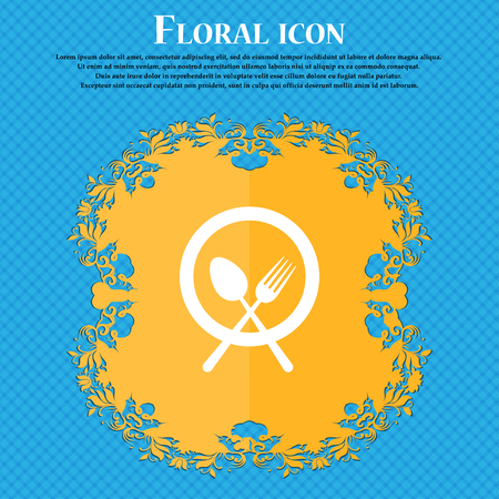 plate with cutlery icon sign. Floral flat design on a blue abstract background with place for your text. Vector illustration