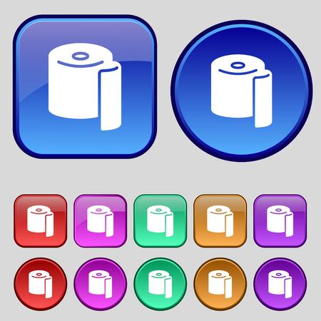 defecation: toilet paper icon sign. A set of twelve vintage buttons for your design. Vector illustration