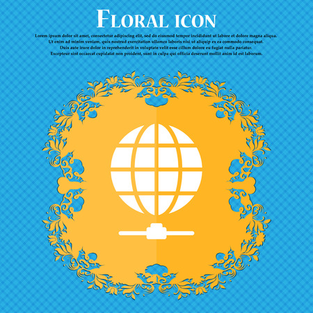 webhosting: Website Icon sign. Floral flat design on a blue abstract background with place for your text. Vector illustration