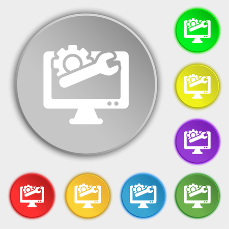 technologically: repair computer icon sign. Symbol on eight flat buttons. Vector illustration