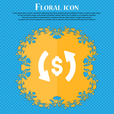 Exchange icon sign. Floral flat design on a blue abstract background with place for your text. Vector illustration
