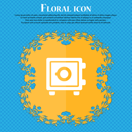 Safe icon sign. Floral flat design on a blue abstract background with place for your text. Vector illustration Illustration