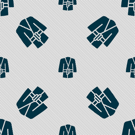 women s clothes: Bathrobe icon sign. Seamless pattern with geometric texture. Vector illustration