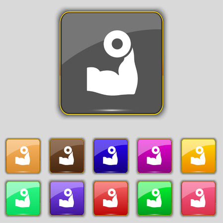 hand with dumbbell: Arm muscle with dumbbell in hand icon sign. Set with eleven colored buttons for your site. Vector illustration Illustration