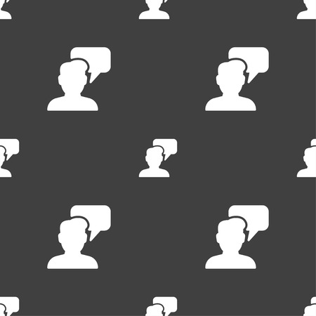 speech buble: People talking icon sign. Seamless pattern on a gray background. Vector illustration Illustration