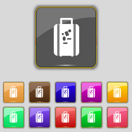 portmanteau: travel luggage suitcase icon sign. Set with eleven colored buttons for your site. Vector illustration Illustration