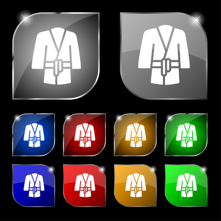 housecoat: Bathrobe icon sign. Set of ten colorful buttons with glare. Vector illustration Illustration