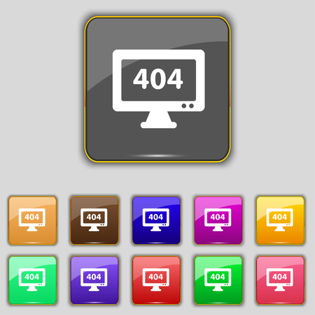 blunder: 404 not found error icon sign. Set with eleven colored buttons for your site. Vector illustration Illustration
