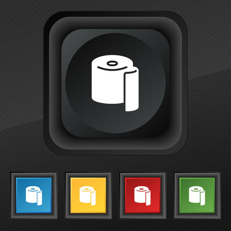 defecation: toilet paper icon symbol. Set of five colorful, stylish buttons on black texture for your design. Vector illustration