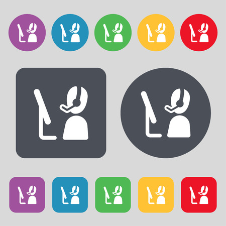 telemarketing: Telemarketing icon sign. A set of 12 colored buttons. Flat design. Vector illustration
