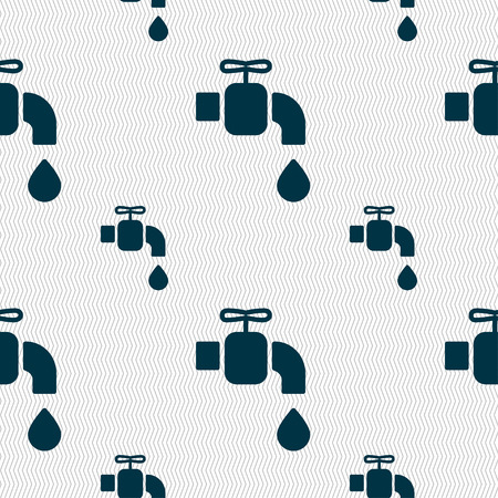 spigot: faucet icon sign. Seamless pattern with geometric texture. Vector illustration