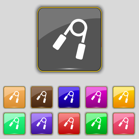 Hand grip trainer icon sign. Set with eleven colored buttons for your site. Vector illustration