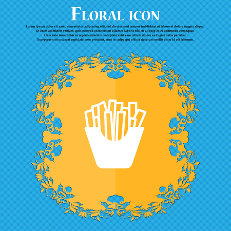 Fry icon sign. Floral flat design on a blue abstract background with place for your text. Vector illustration