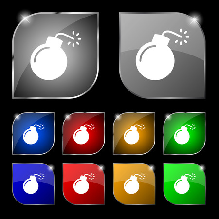bomb icon sign. Set of ten colorful buttons with glare. Vector illustration Illustration